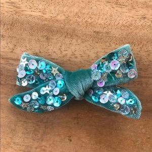 Baby girl blue sequin bow